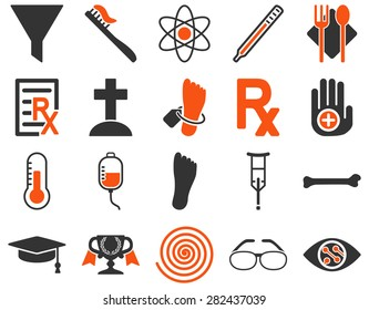 Medical icon set. Style: bicolor icons drawn with orange and gray colors on a white background.