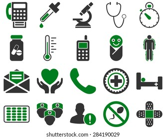 Medical icon set. Style: bicolor icons drawn with green and gray colors on a white background.