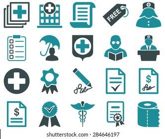 Medical icon set. Style: bicolor icons drawn with soft blue colors on a white background.