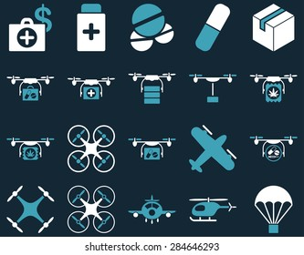 Medical icon set. Style: bicolor icons drawn with blue and white colors on a dark blue background.