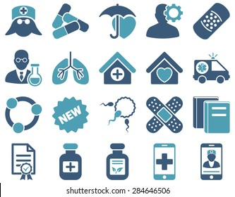 Medical icon set. Style: bicolor icons drawn with cyan and blue colors on a white background.