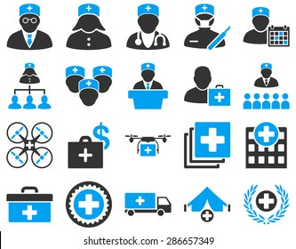 Medical icon set. Style: bicolor icons drawn with blue and gray colors on a white background.