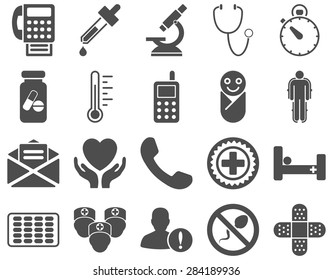 Medical icon set. Style: icons drawn with gray color on a white background.