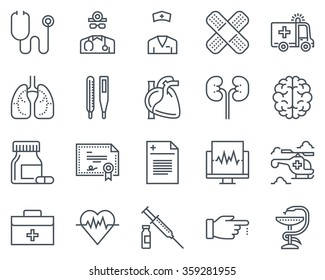Medical icon set suitable for info graphics, websites and print media. Black and white flat line icons
