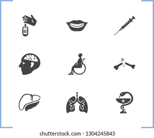 Medical icon set and syringe with pancreas, teeth and pharmacy. Pulmonary related medical icon vector for web UI logo design.
