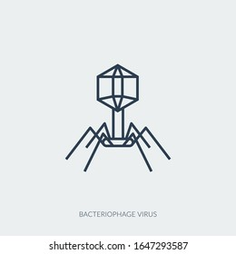 Medical icon of virus bacteriophage or harmful bacterium