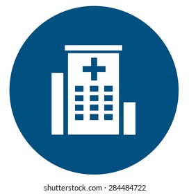 medical icon with white hospital building silhouette