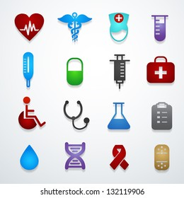 medical icons color vector