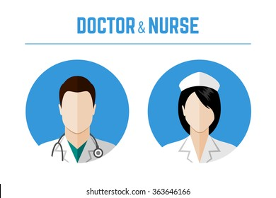 Medical icons. Doctor and nurse avatars. Flat style design