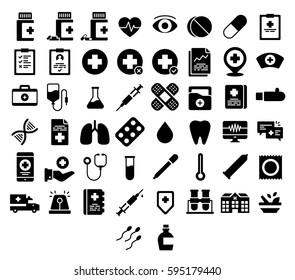 Medical Icons Medicine Hospital Kit Collection Set