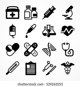 Medical icons on white background. Medicine symbols in grey. Vector illustration