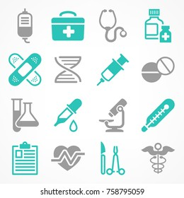 Medical icons on white, medicine symbols in grey & blue, medical vector illustration