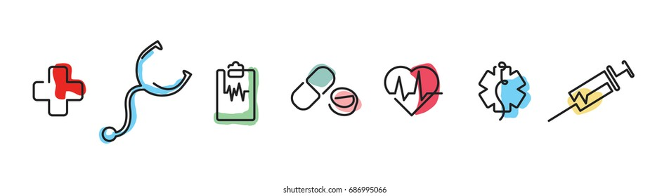 Medical icons. One line style. Isolated vector illustration in white background