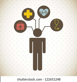 medical icons over vintage background. vector illustration
