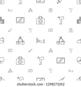 medical icons pattern seamless white background. Included editable line first aid, bed, injection, x ray on display, blod pressure tool icons. medical icons for web and mobile.