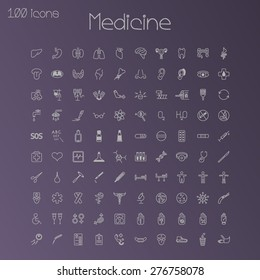 Medical icons. Set of 100 pieces.