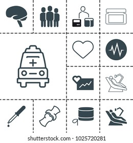 Medical icons. set of 13 editable filled and outline medical icons such as cardiogram, pipette, brain, bone, heart, ambulance, cream box, blod pressure tool, nurse hat