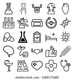 Medical icons. set of 25 editable outline medical icons such as test tube, cream box, heart with cross, stethoscope, pill, heart with muscles, heart organ, heartbeat clipboard