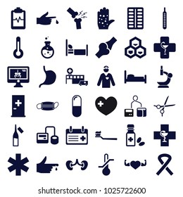 Medical icons. set of 36 editable filled medical icons such as aid post, bed, blod pressure tool, pill, ampoule, heart with muscles, stomach, kidney, heartbeat clipboard