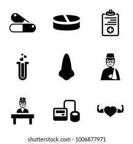 Medical icons. set of 9 editable filled medical icons such as nose, blod pressure tool, heart with muscles, heart test tube, man with broken arm, medical clipboard, doctor