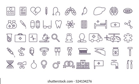 Medical icons set. All signs and symbolsof medical treatment on white background.