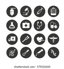 medical icons set in circle button style