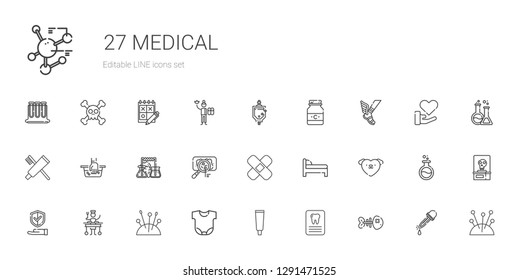 medical icons set. Collection of medical with fishbone, dentist, tooth paste, body, needles, large, insurance, love, bed, patch, virus, flask. Editable and scalable medical icons.