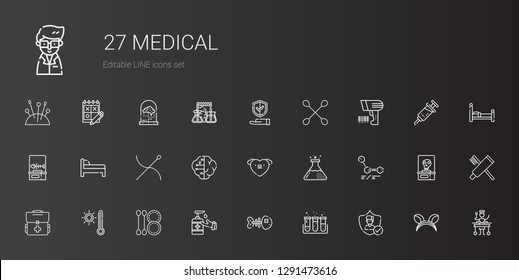 medical icons set. Collection of medical with insurance, test tube, fishbone, antiseptic, cotton swab, thermometer, first aid kit, molecules. Editable and scalable medical icons.