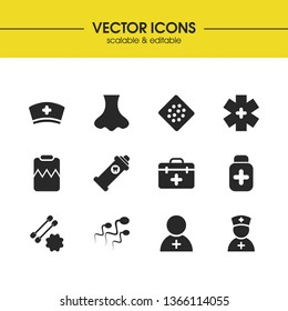 Medical icons set with ear wand with sticks, hospital logo, rinse mouth elements. Set of medical icons and monitoring concept. Editable vector elements for logo app UI design.