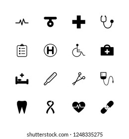 Medical icons set in flat style  on white background. Sign and Symbols Medicine and Health Care with Elements for Mobile Concepts and Web Apps. Collection Modern Infographic Logo and Pictogram.