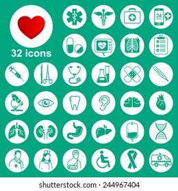 Medical icons set (general, tools, organs, symbols)