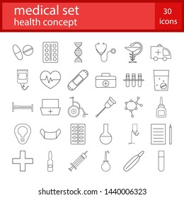 Medical icons set. Healthcare concept. Vector illustration of medicine outline symbols.