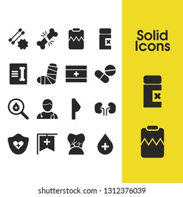Medical icons set with hospital banner, broken bone and record in traumatology elements. Set of medical icons and search concept. Editable vector elements for logo app UI design.