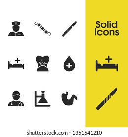 Medical icons set with hospital bed, sludge and scalpel elements. Set of medical icons and specialist concept. Editable vector elements for logo app UI design.