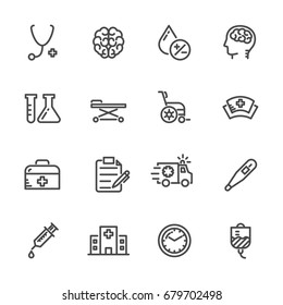 Medical icons set, Hospital and ER. Vector line icons