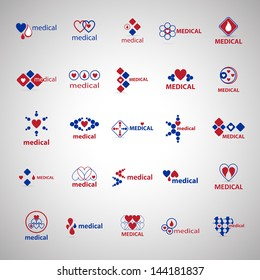 Medical Icons Set - Isolated On Gray Background - Vector Illustration, Graphic Design Editable For Your Design. Medical Logo