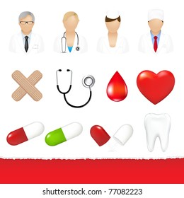 Medical Icons Set, Isolated On White Background, Vector Illustration