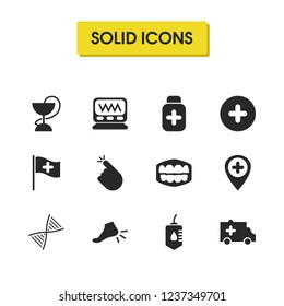 Medical icons set with pill bottle, monitor and aid car elements. Set of medical icons and transfusion concept. Editable vector elements for logo app UI design.