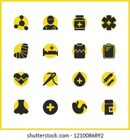 Medical icons set with sludge, doctor and medicine elements. Set of medical icons and clipboard concept. Editable vector elements for logo app UI design.
