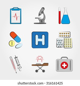 Medical icons set for web and mobile application. Vector illustration on a white background.