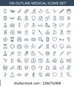 medical icons. Trendy 100 medical icons. Contain icons such as stethoscope, cream tube, heart, ambulance, dental care, heart test tube, dna, tablet. medical icon for web and mobile.