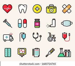 Kollektion von farbigen, isolierten Medizin-Symbolen. Vektorillustration