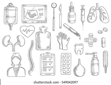 Medical icons. Vector isolated medicine items of blood counter, thermometer, surgeon and dentist tools, dropper and syringe, lungs and heart, kidney, tooth and pill, drug, nurse, spine, spray, patch