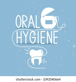Medical illustration, dental symbol and text. Dental care, poster design. White and blue background vector. The emblem of dentistry, dental clinic. Silhouette of tooth and dental floss. Oral hygiene