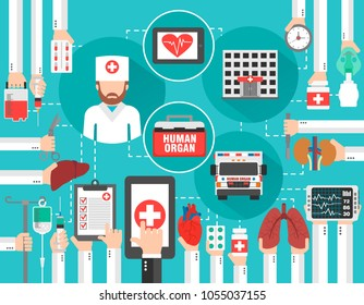 Medical infographic concept flat with car human organ ,hospital and doctor ,online call.Vector illustration