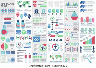 Medical infographic elements set. Healthcare, emergency and medicine industry charts. Virology and genetics research analytics. Data visualization vector bundle with colorful diagrams and graphs.