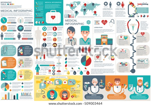 Medical infographic elements vector design template. Can be used for  circle diagram, bar graph, pie chart, process diagram, timeline infographic, healthcare, research, set information infographics.