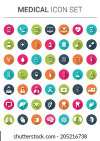 Medical infographic icon set in colorfull circles with shadows