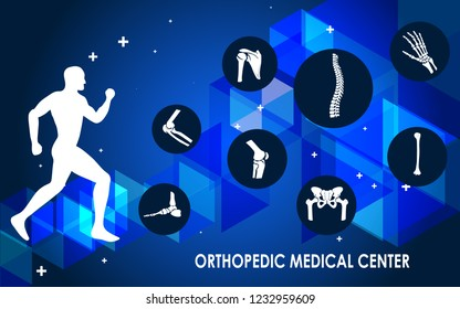 Medical infographic orthopedic anatomy. Human silhouette in motion with marked spine, pelvis, knee, foot, shoulder, elbow, hand, humerus bones and joints. Orthopedics medical. Vector illustration.
