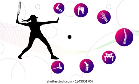 Medical infographic orthopedic; human silhouette in motion of tennis. Abstract background with spine, pelvis, knee, foot, shoulder, elbow, hand, humerus, bones and joints. Vector illustration.